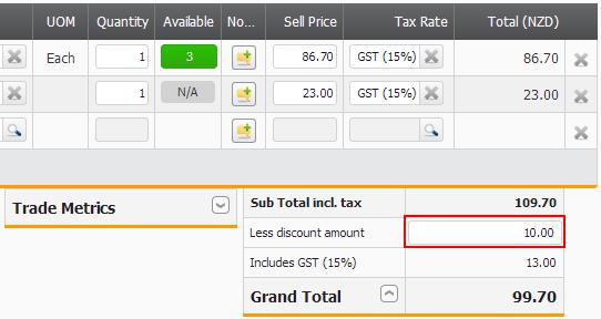 Screenshot Sales Order Discount