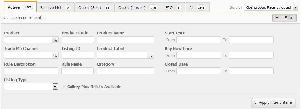 Screenshot Listings Search Panel