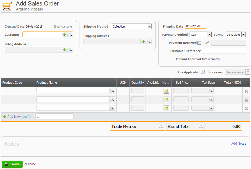 Screenshot Sales Order New